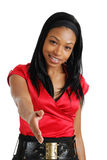 Stretta di mano d'offerta della donna di affari dell'afroamericano Fotografia Stock