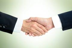 Stretta di mano degli uomini d'affari nel fondo verde chiaro Fotografia Stock Libera da Diritti