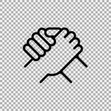 Stretta di mano dei soci commerciali Saluto umano Simbolo di braccio di ferro Illustrazione di vettore Fotografia Stock Libera da Diritti
