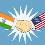 Stretta di mano dell'India e degli Stati Uniti illustrazione di stock