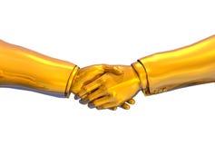 Stretta di mano dell'oro solido - con il percorso di residuo della potatura meccanica Fotografie Stock Libere da Diritti