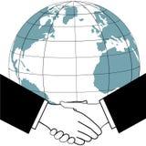 Stretta di mano di accordo commerciale di affari globali Fotografia Stock
