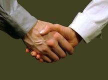 Stretta di mano di affari, donna ed uomo (priorità bassa grigia) Fotografia Stock Libera da Diritti
