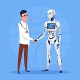 Stretta di mano moderna del robot con il concetto futuristico di tecnologia di intelligenza artificiale dell'uomo illustrazione vettoriale