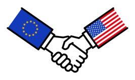 Stretta di mano UE U.S.A., accordo, alleanza, affare di affari, amicizia, concetto, grafico illustrazione di stock