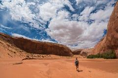 Stretti asciutti della forcella di Gulch dello zolfo di viaggiatore con zaino e sacco a pelo della viandante del coyote fotografie stock
