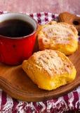 Streusel pumpkin sweet rolls with glaze Stock Photo