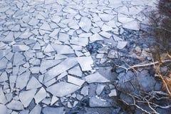 Streuung von zerquetschten Eisschollen Bloße Baumaste, die heraus erreichen Lizenzfreies Stockfoto