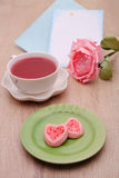 Strew berry heart cookies Stock Photography
