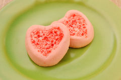 Strew berry heart cookies Stock Image