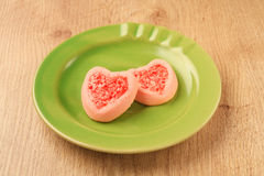 Strew berry heart cookies Royalty Free Stock Photography