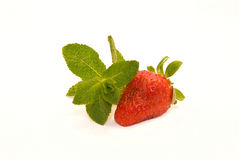 Strewberry with Mint. Strawberry with Mint on White Background Royalty Free Stock Photos