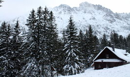 Strewn mountain cottage Royalty Free Stock Images