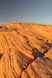 Striated rock strata in the Arizona desert Stock Image