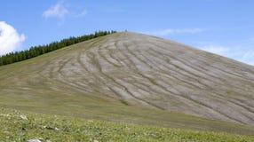 Striature uniche nei pendii di collina della Mongolia del Nord immagine stock libera da diritti