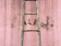Strichleiter auf der Wand Stockbild