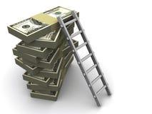 Strichleiter auf Geld Lizenzfreies Stockbild