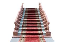 Strichleiter mit einem roten Teppich Stockfotos