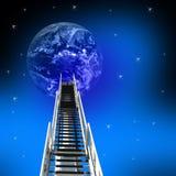 Strichleiter zum Erfolg bis zur Erde Stockfoto