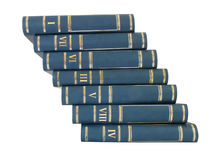 Strichleiterstapel der Bücher getrennt auf weißem Hintergrund Lizenzfreies Stockfoto