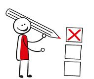 Stick figure with checkboxes royalty free illustration