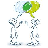 Stick figures in conversation and an intersection of two speech bubbles. For business stock illustration