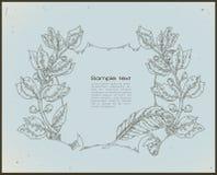 Strichzeichnungsweinlesefahne - Blau Stockbild