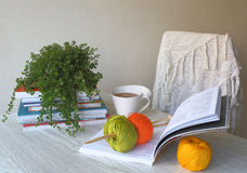 Stricken, Bücher, Tee und Schal Lizenzfreies Stockfoto