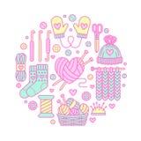 Stricken, Häkelarbeit, handgemachte Fahnenillustration Vector Linie Ikonenstricknadel, Haken, Schal, Socken, Muster, Wolle vektor abbildung