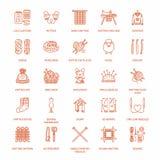 Stricken, Häkelarbeit, handgemachte Linie Ikonen eingestellt Stricknadel, Haken, Schal, Socken, Muster, Wollstränge und anderes D Stockbilder