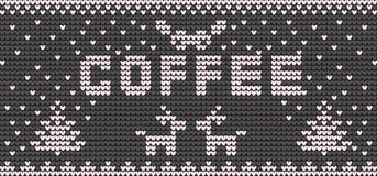 Strickendes Segeltuch des Vektors für Tasse Kaffee Lizenzfreies Stockfoto