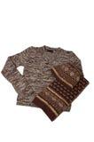 Strickjacke, Schutzkappe und Schal. Lizenzfreie Stockbilder