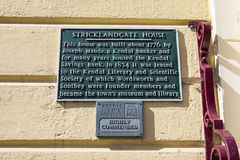 Stricklandgate House Plaque in Kendal Stock Photography