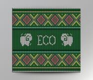 Strickte organisches Strickjackendesign Eco auf der Wolle Beschaffenheit Lizenzfreie Stockfotografie