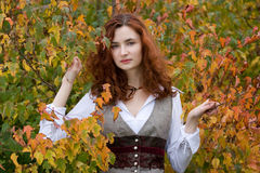 Strict autumn girl Stock Photo