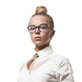 Strict beautiful woman in glasses. And white shirt on white background isolated Stock Images