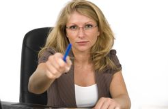Strict boss. A strict boss threatened with the pen Royalty Free Stock Images