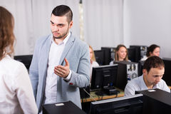 Strict boss and crying clerk Stock Photos