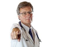 Strict chief medical gives clear directive. Strict chief medical gives with forefinger clear directive. Isolated on white background Stock Images