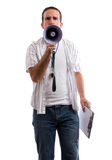 Strict Coach. A strict coach is using his megaphone to yell at the viewer, isolated against a white background Royalty Free Stock Photo