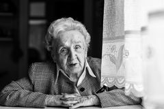 Strict elderly woman black and white portrait Royalty Free Stock Photo