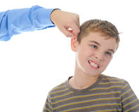 Strict father punishes his son royalty free stock photo
