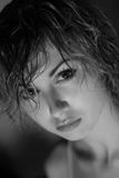 Strict girl. Portrait of the young strict girl close-up Stock Image