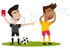 Strict looking cartoon football referee blowing whistle, holding red card, sending off crying player. Isolated on white background Stock Images