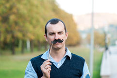 Strict man moustaches Royalty Free Stock Image
