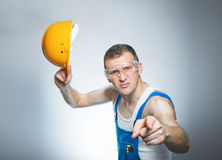 Strict negative manual worker Stock Photography