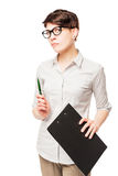 Strict serious business woman with a folder in his hand Stock Photo