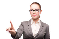 The strict serious businesswoman isolated on white Royalty Free Stock Image