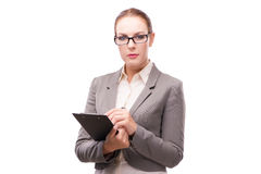 The strict serious businesswoman isolated on white Stock Photography