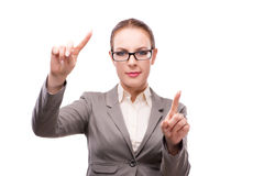 The strict serious businesswoman isolated on white Stock Photos